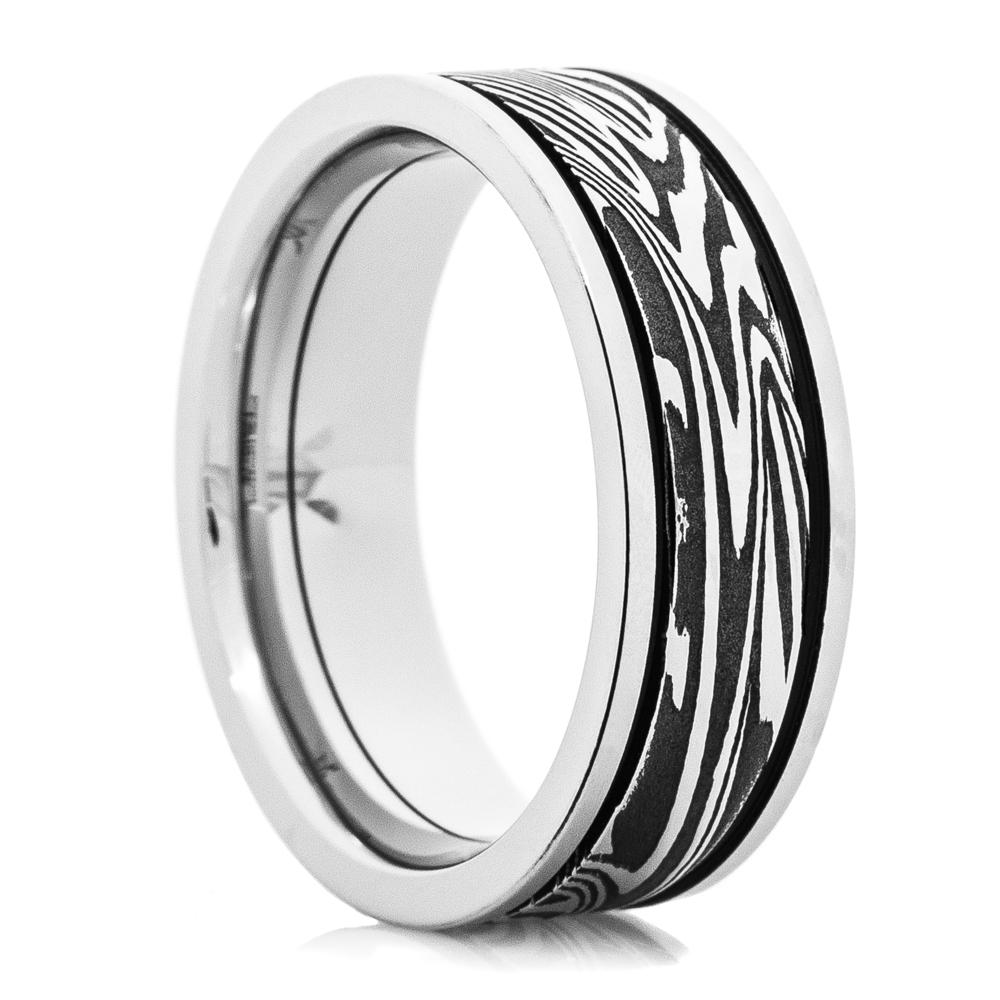 Men's Cobalt Acid Finished Sunset Damascus Steel Ring