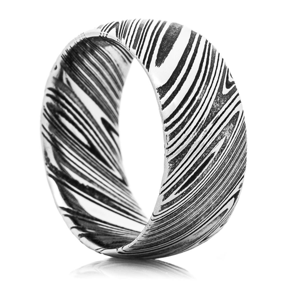 Men's Acid Finished Woodgrain Pattern Damascus Steel Ring