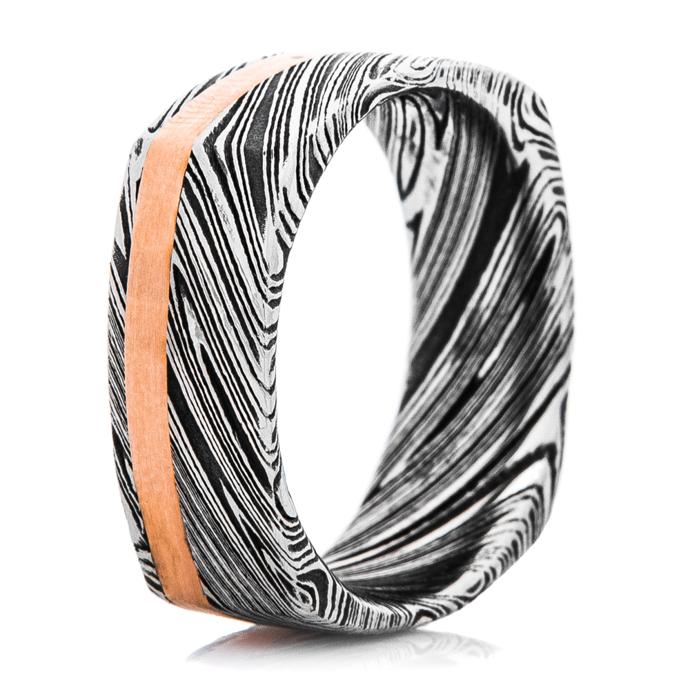 Men's Square Damascus Steel Ring with Offset Rose Gold Inlay