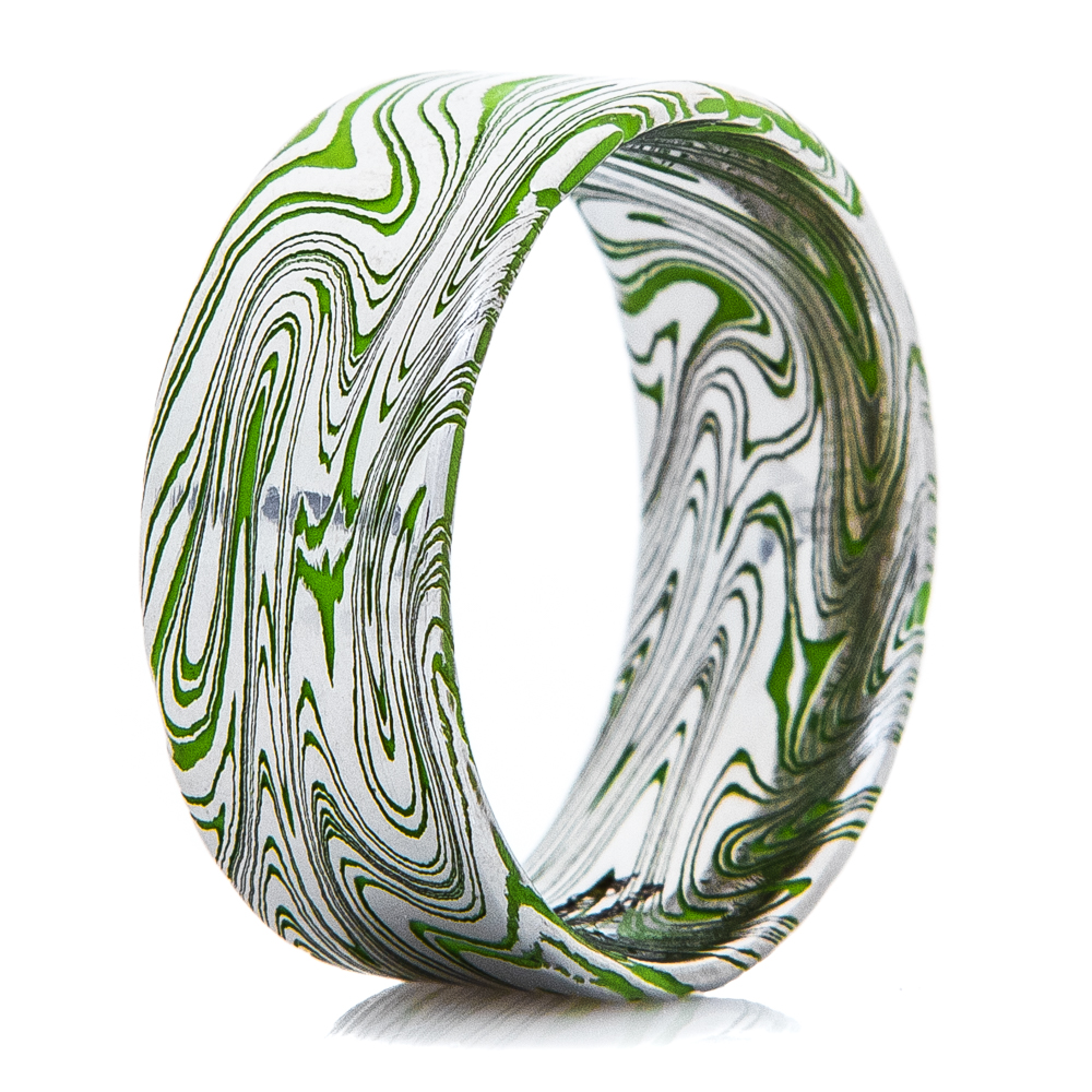 Men's Zombie Green Marbled Damascus Steel Ring