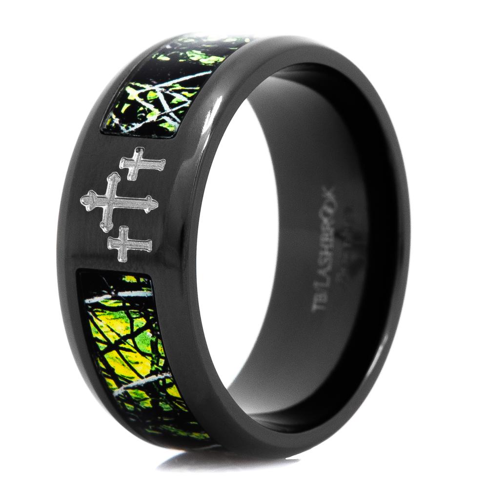 Men's Black Zirconium Sirphis™ TOXIC Camo Ring with Carved Crosses