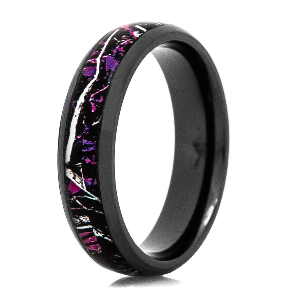 Women's Muddy Girl™ Pink Camo Ring - Black Zirconium 5mm width