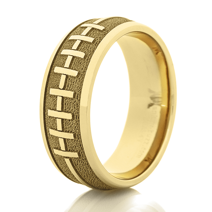 Men's 14k Yellow Gold Football Stitch Ring