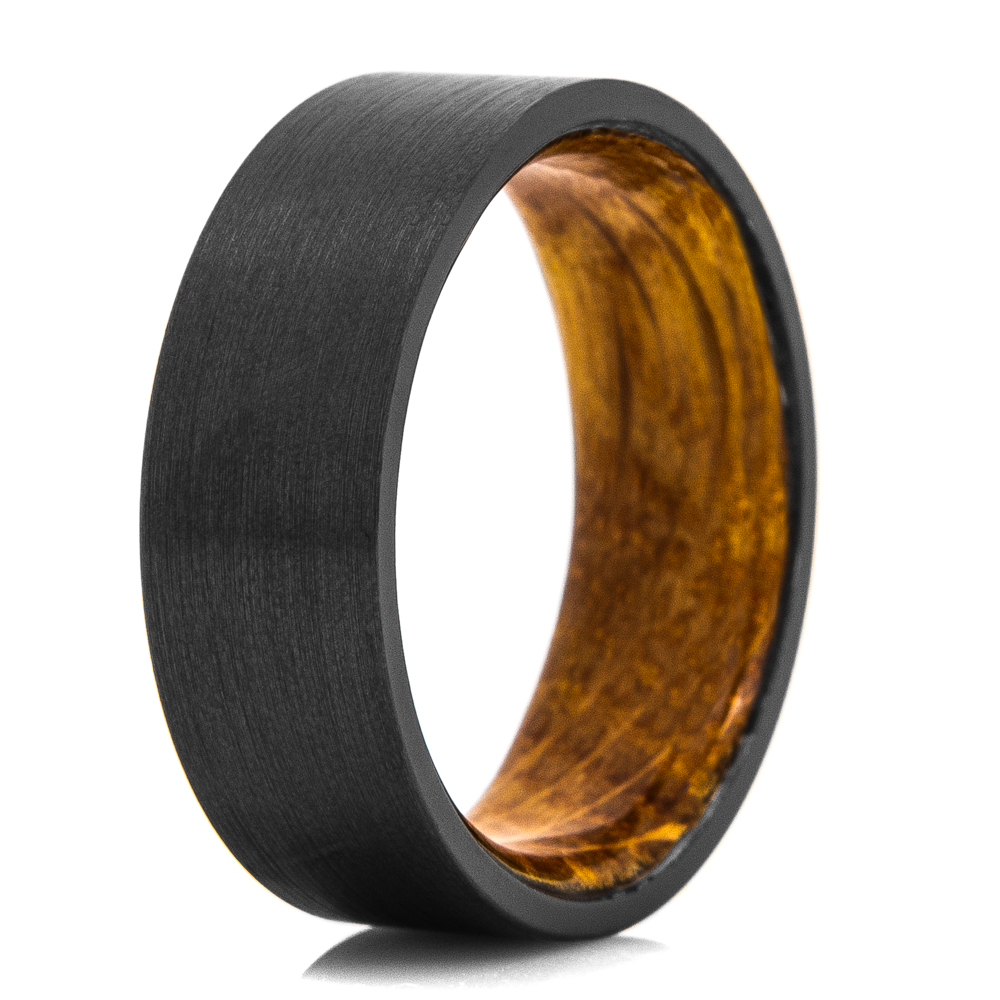 Whiskey Barrel & Satin Finish Black Men's Wedding Ring