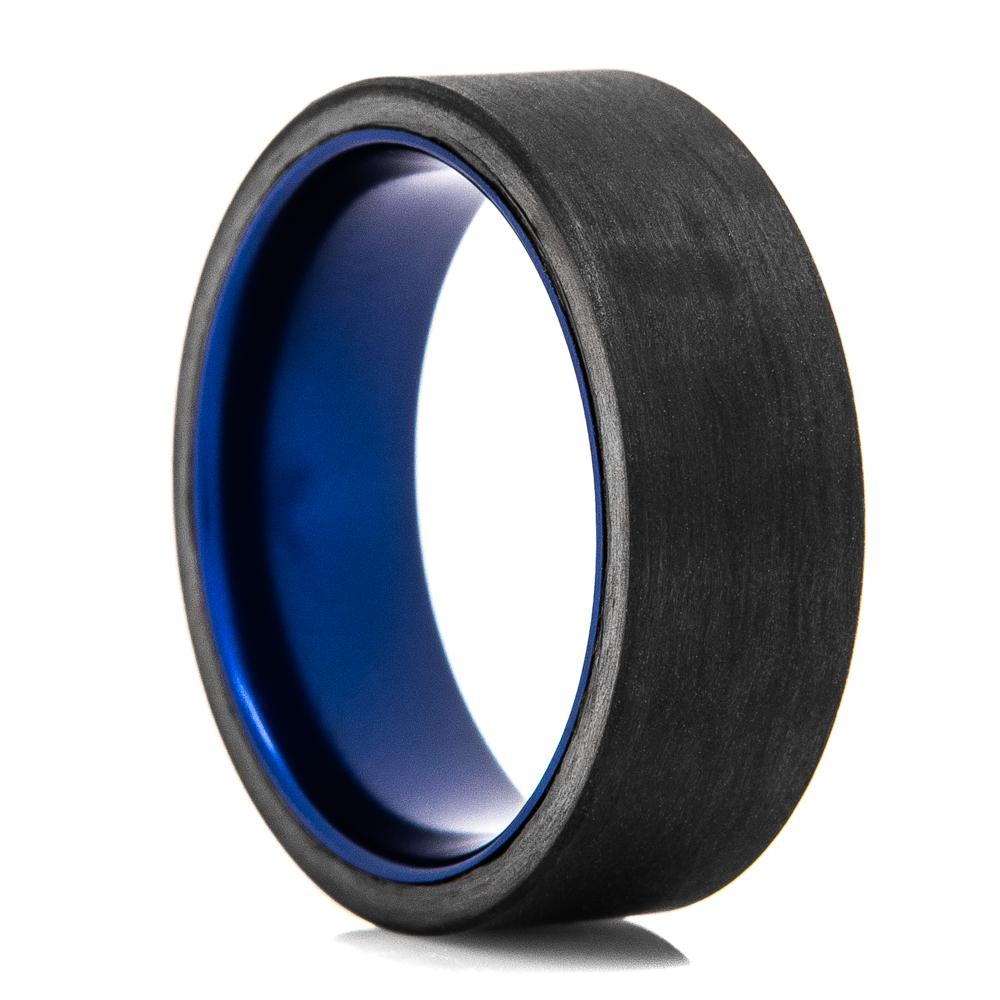 Solid Carbon Fiber & Blue Inside Sleeve Ring