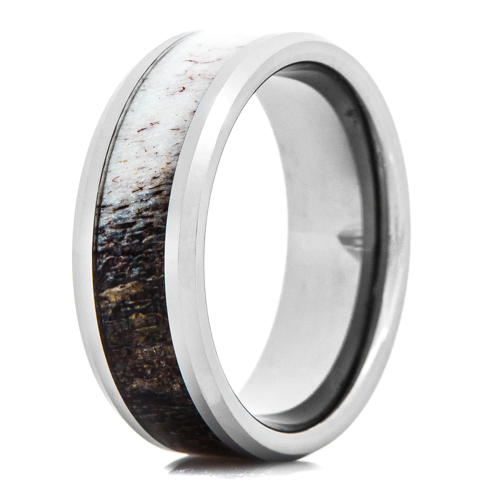 Men's Tungsten Ring with Ombre Deer Anter Inlay