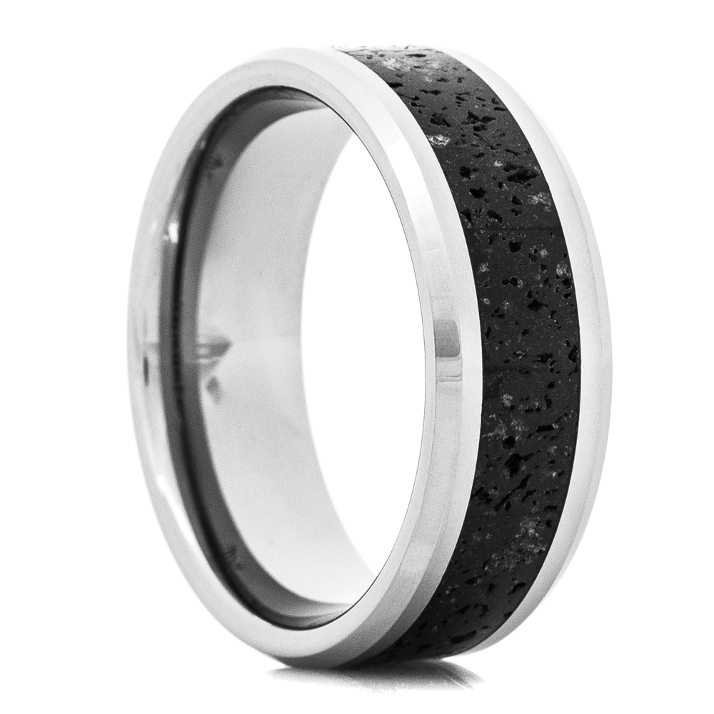 Men's Tungsten Ring with Lava Rock Inlay