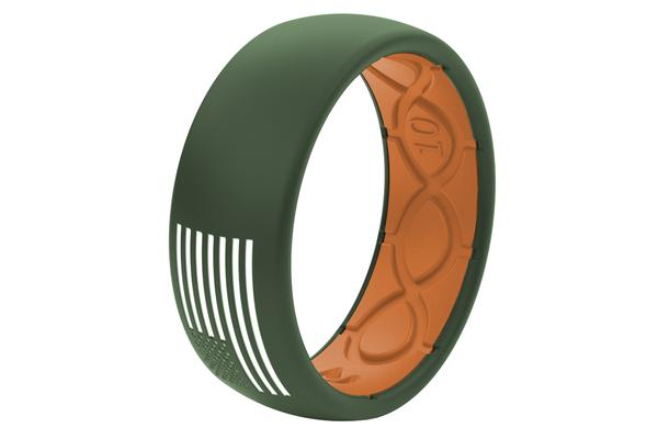 Groove Life Silicone Ring- Embossed American Flag in Moss Green