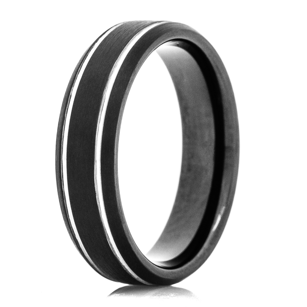 Mens Black Tungsten Wedding Bands.Men S Black Tungsten Ring With Silver Polished Grooves