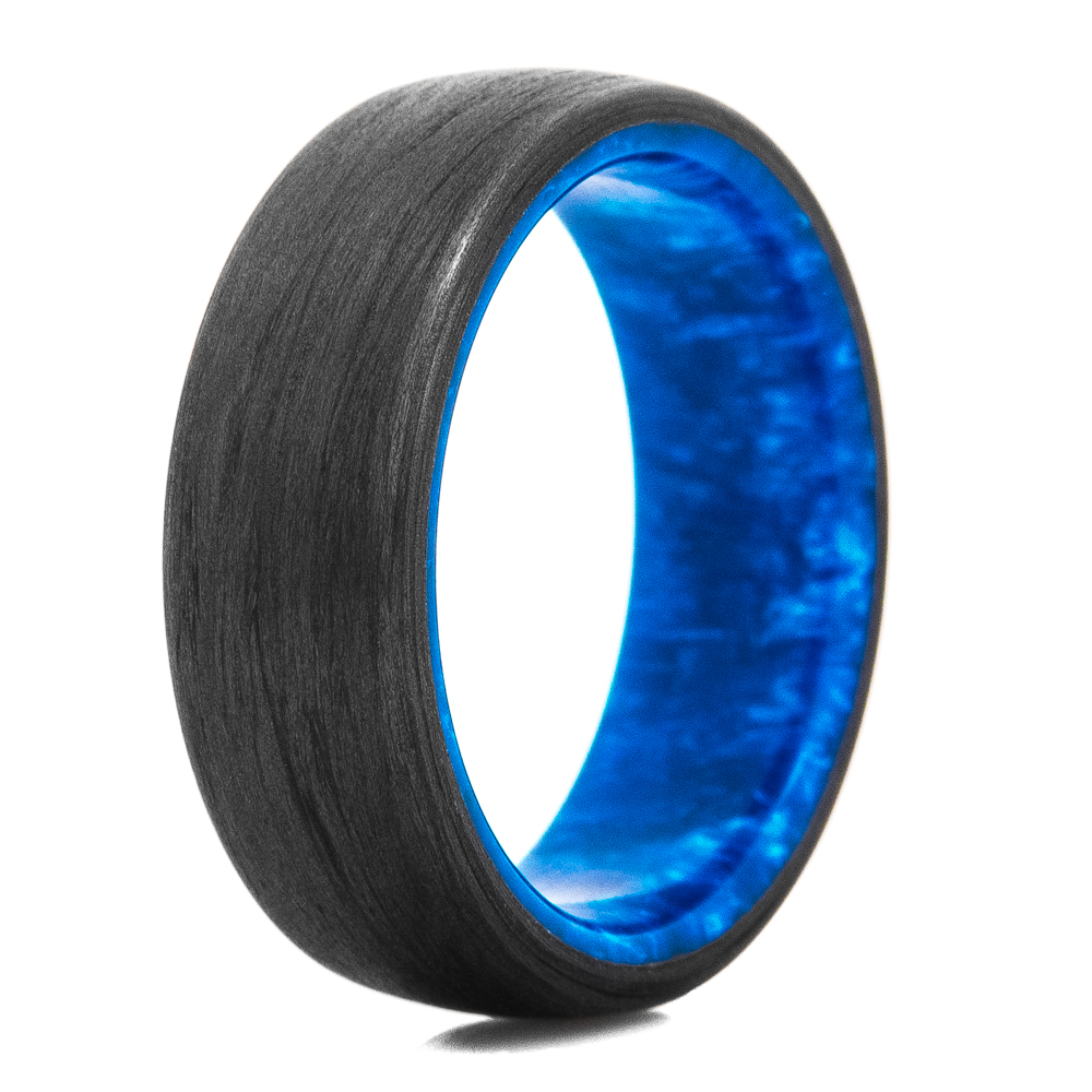 Carbon Fiber & Exotic Blue Swirl Ring