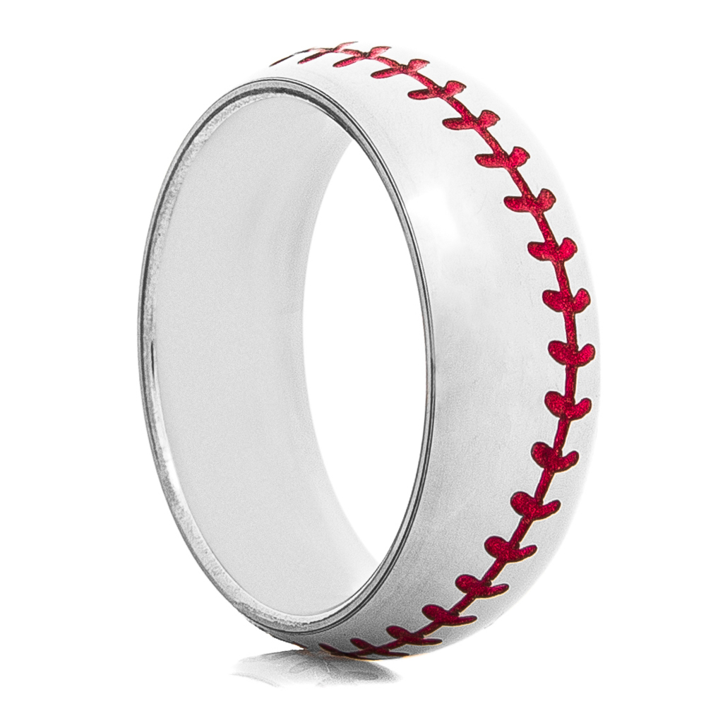 Men's Dome Profile Titanium Baseball Ring