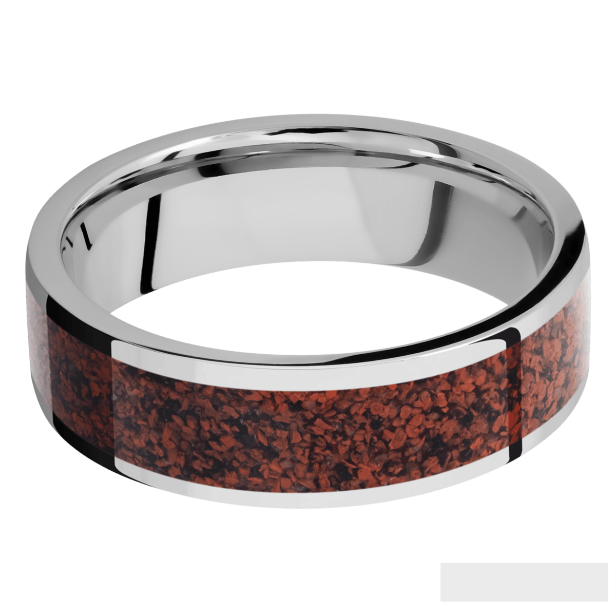 Men's Cobalt Chrome Red Dinosaur Bone Inlay Ring