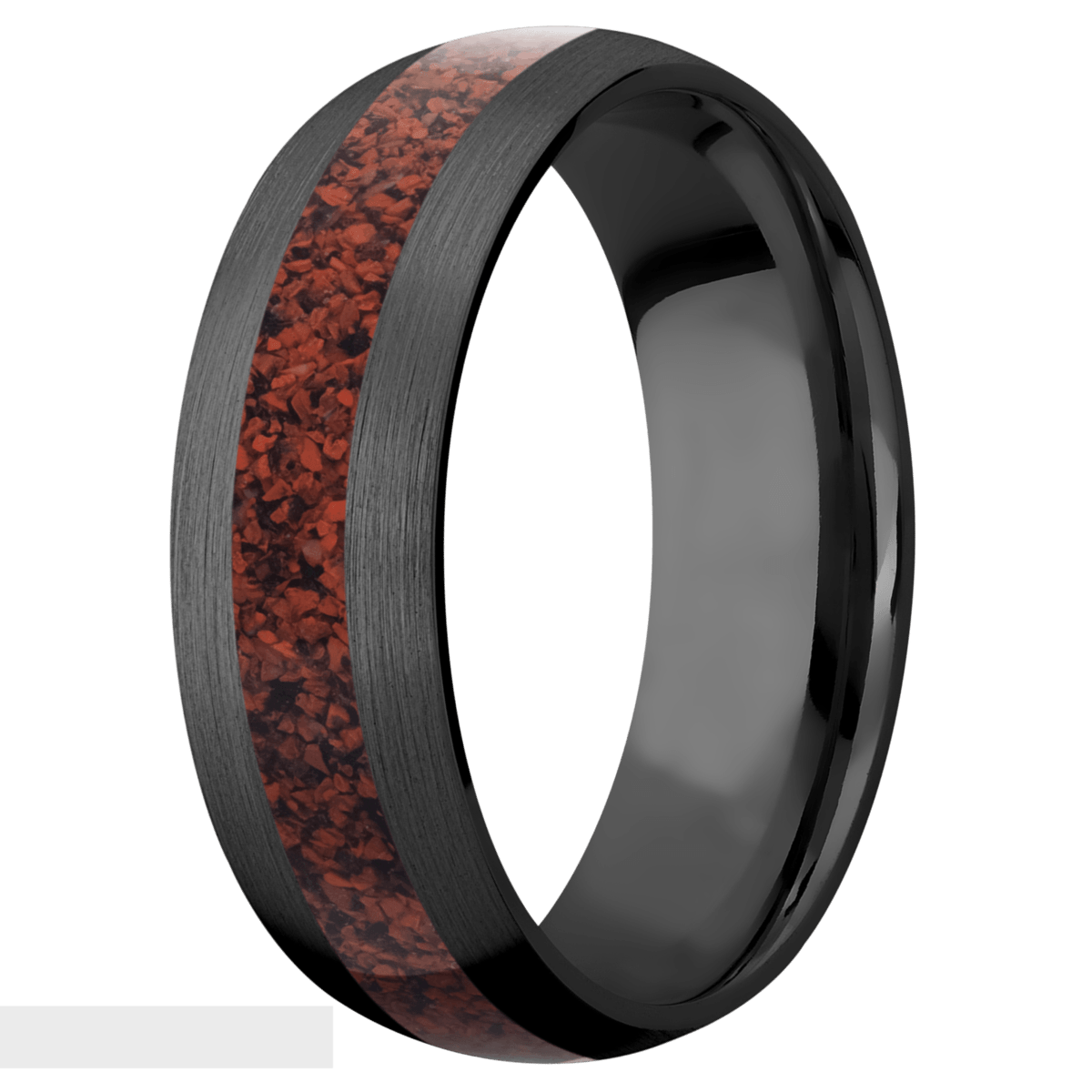 Men's Black Zirconium Red Dinosaur Bone Inlay Ring