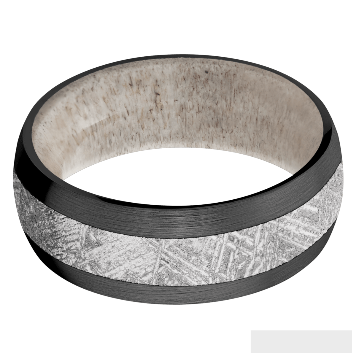 Men's Black Zirconium Meteorite Ring with Deer Antler Sleeve
