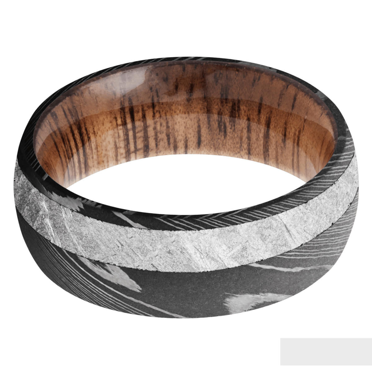 Men's Acid Finished Damascus Steel Ring with Meteorite and Wood Sleeve