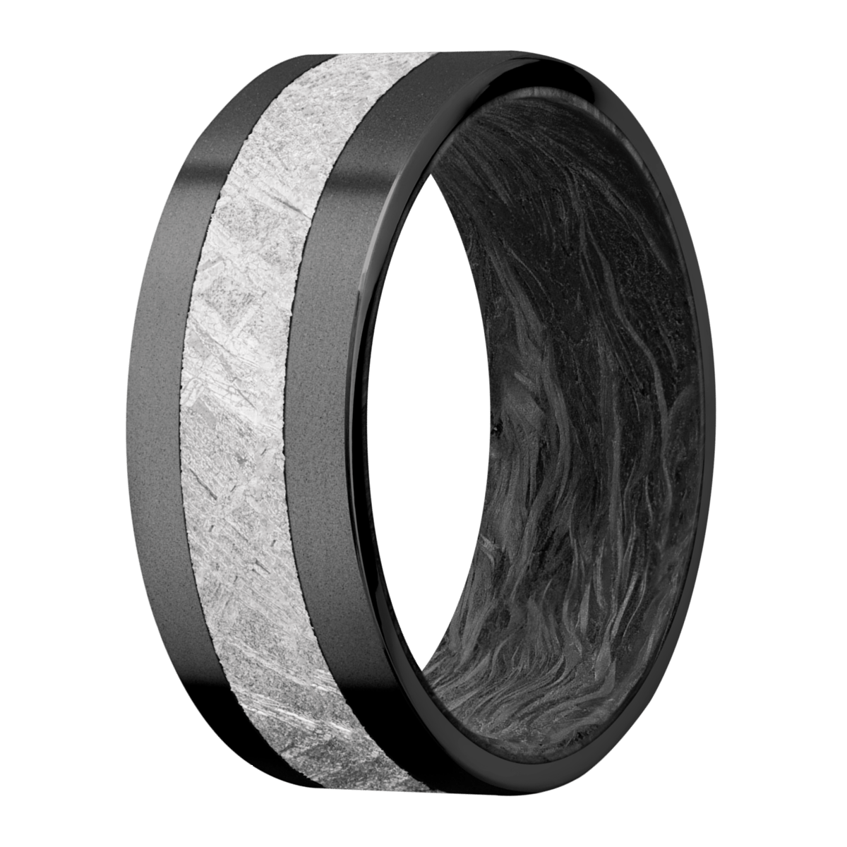 Men's Black Zirconium Meteorite Ring with Forged Carbon Fiber Sleeve