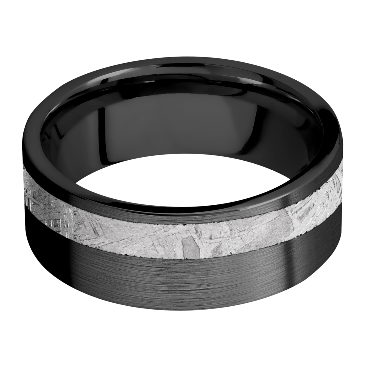 Men's Black Zirconium Ring with Offset Meteorite Inlay