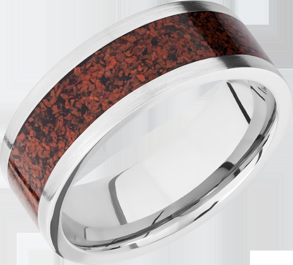 Men's Titanium Flat Profile Red Dinosaur Bone Ring