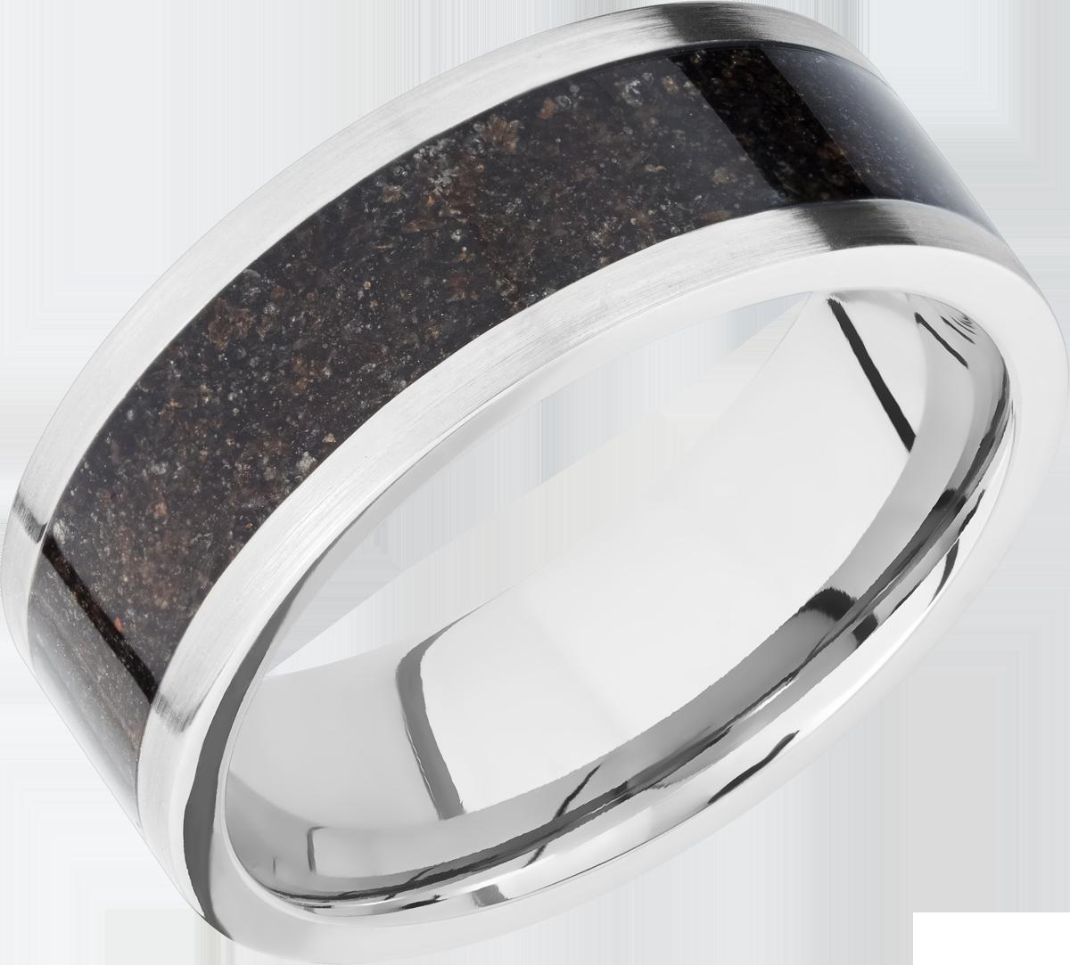 Men's Flat Profile Titanium Ring with Black Dinosaur Bone Inlay