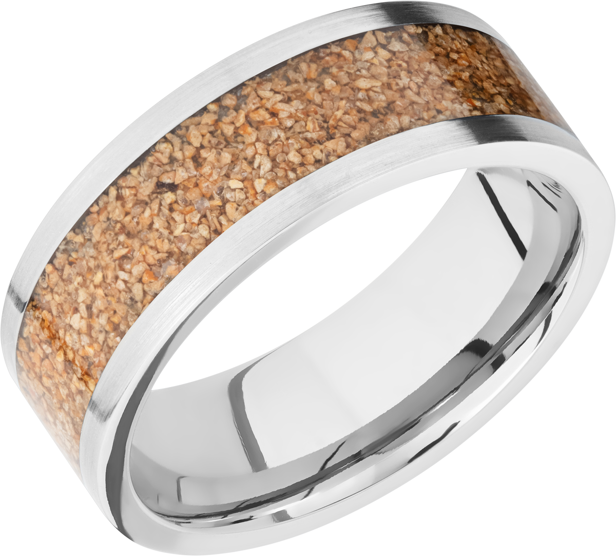 Men's Titanium Flat Profile Tan Dinosaur Bone Ring