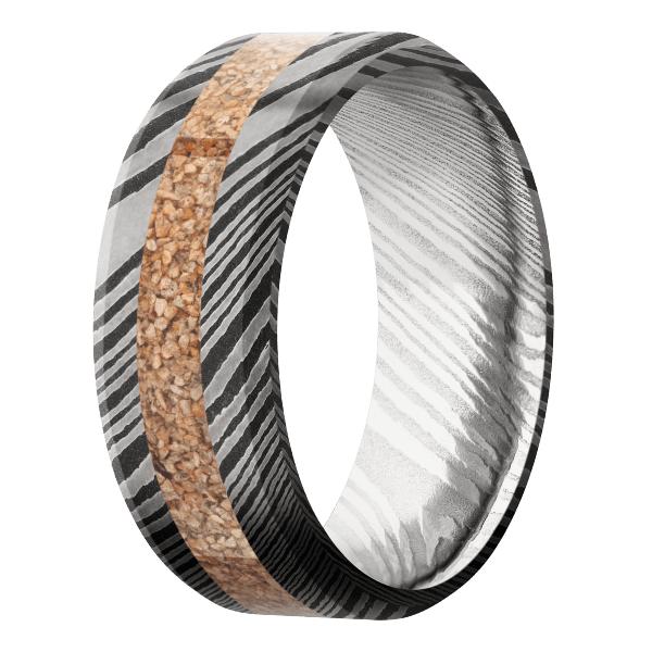 Men's Damascus Steel Ring with Tan Dinosaur Bone Inlay