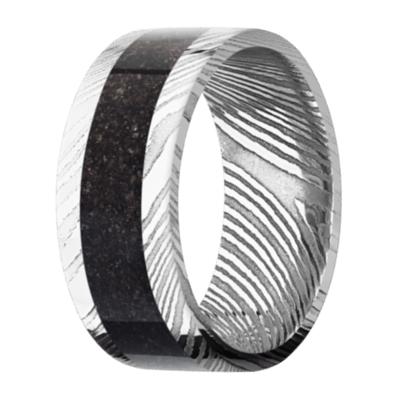 Men's Polished Damascus Steel Ring with Black Dinosaur Bone
