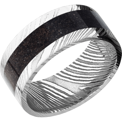Men's Polished Damascus Steel Ring with Black Dinosaur Bone