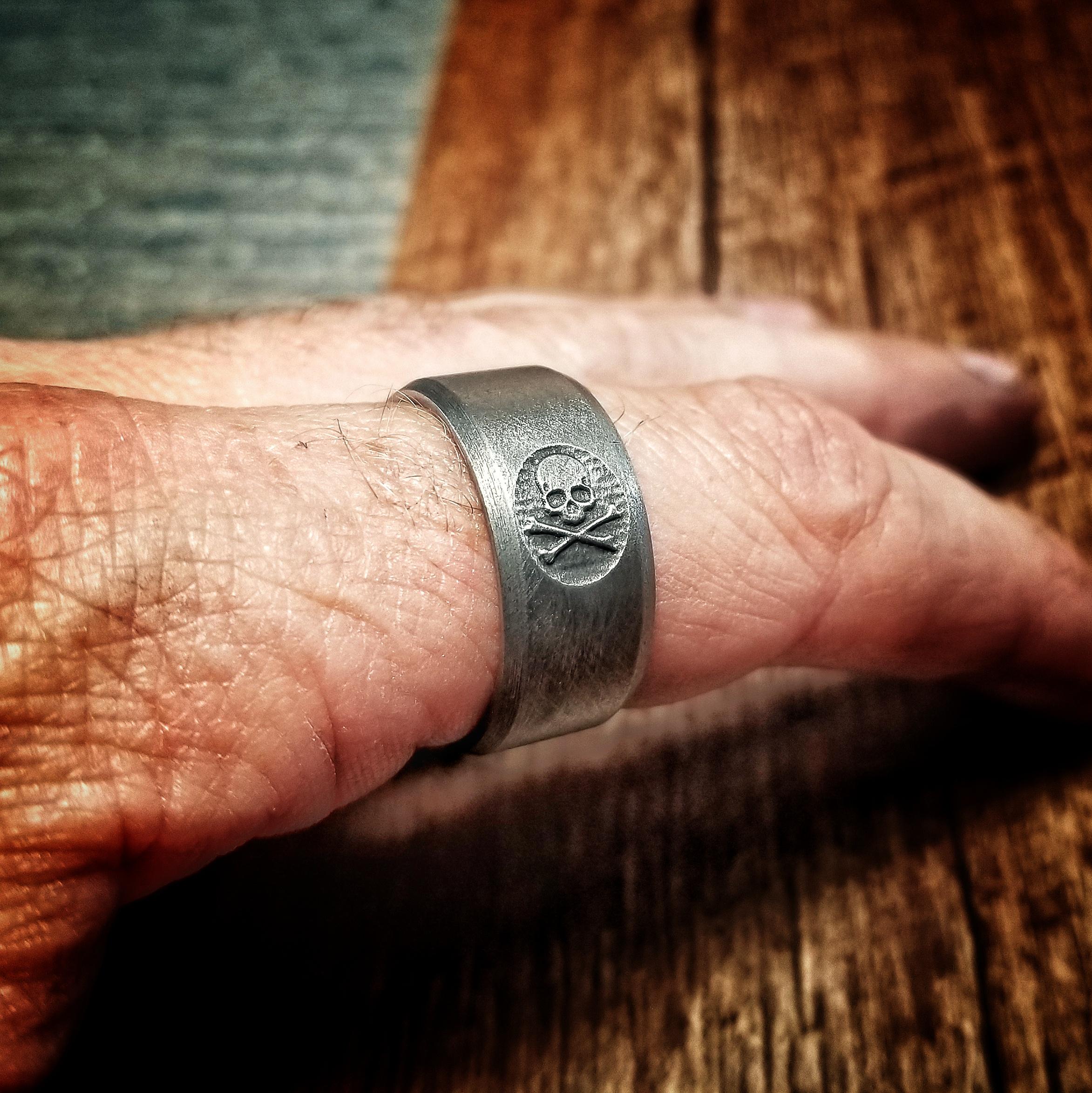 Jolly Roger Titanium Carved Ring