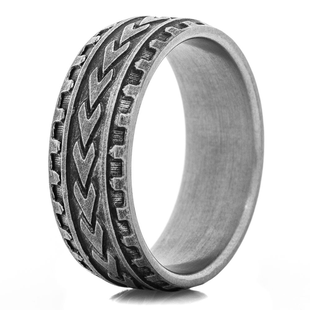 Titanium Carved Arrow Ring with Worn Finish