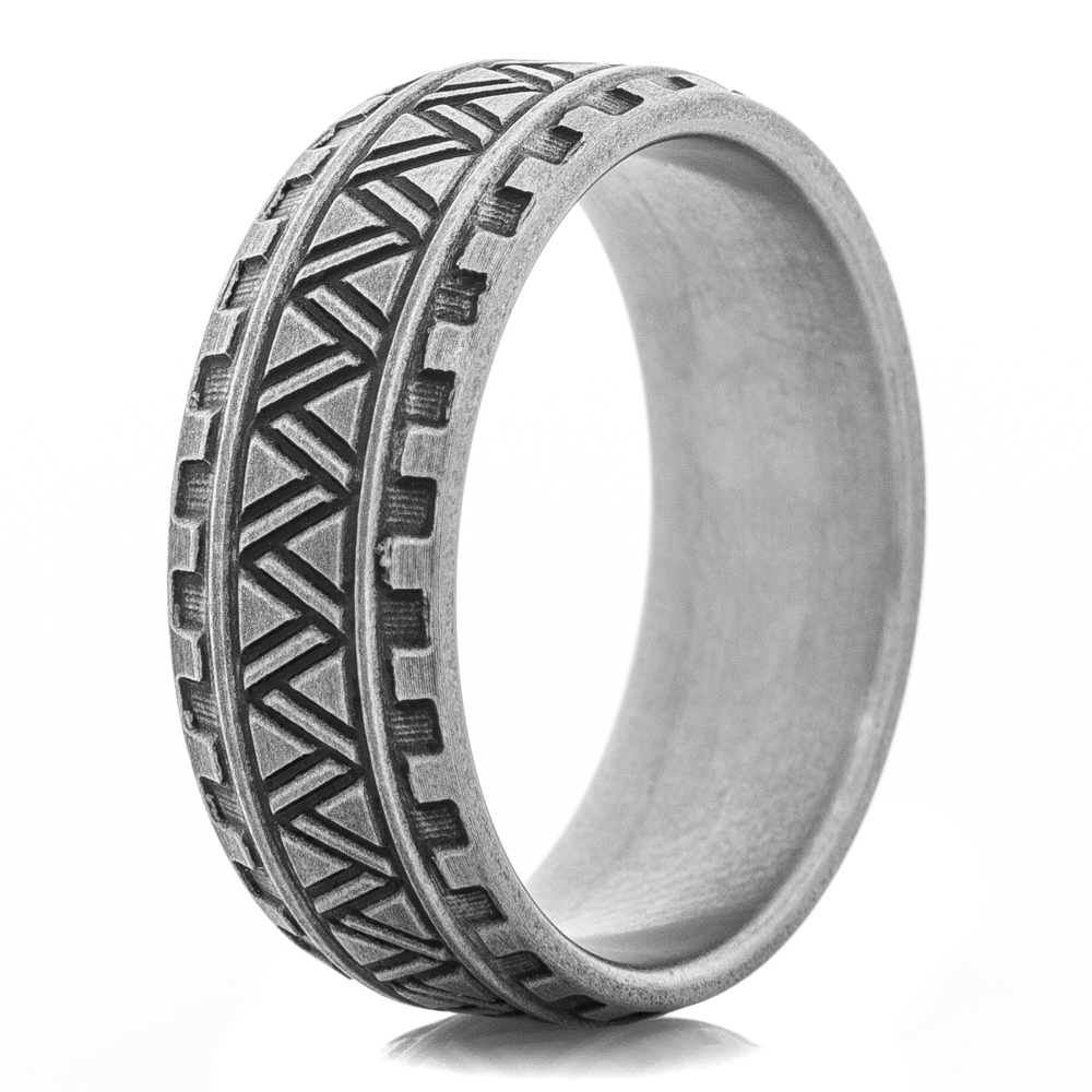 Titanium Sharktooth Carved  Ring