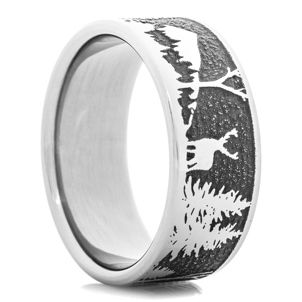 Titanium Mountain and Deer Scene Ring