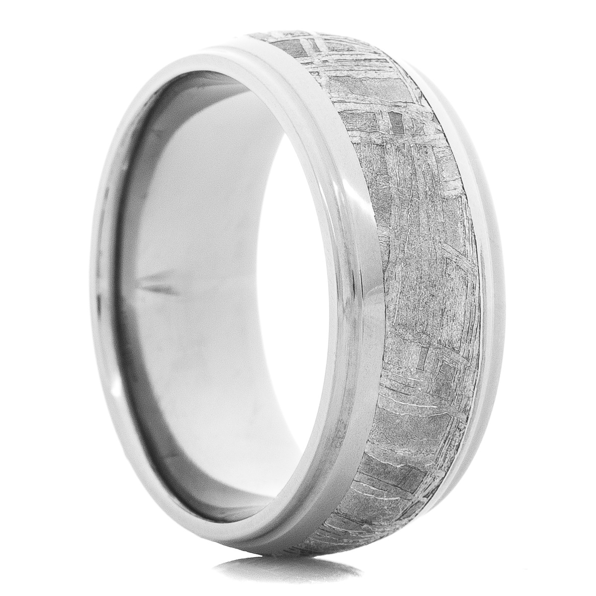 Men's Tantalum Ring with Meteorite Inlay