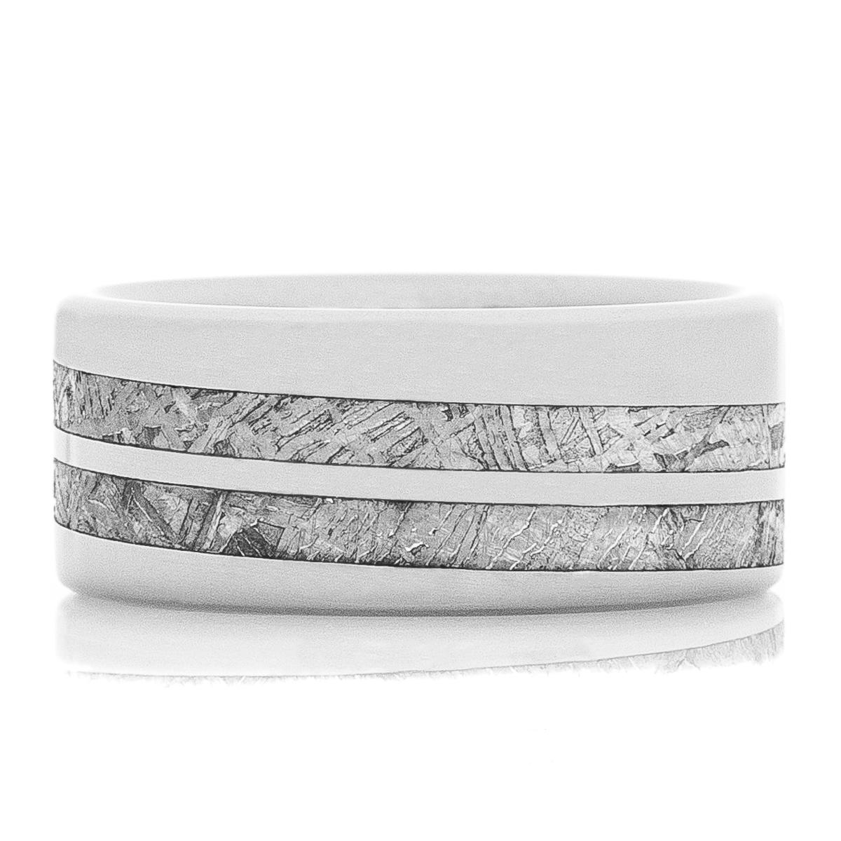 Men's Titanium & Spiral Meteorite Ring