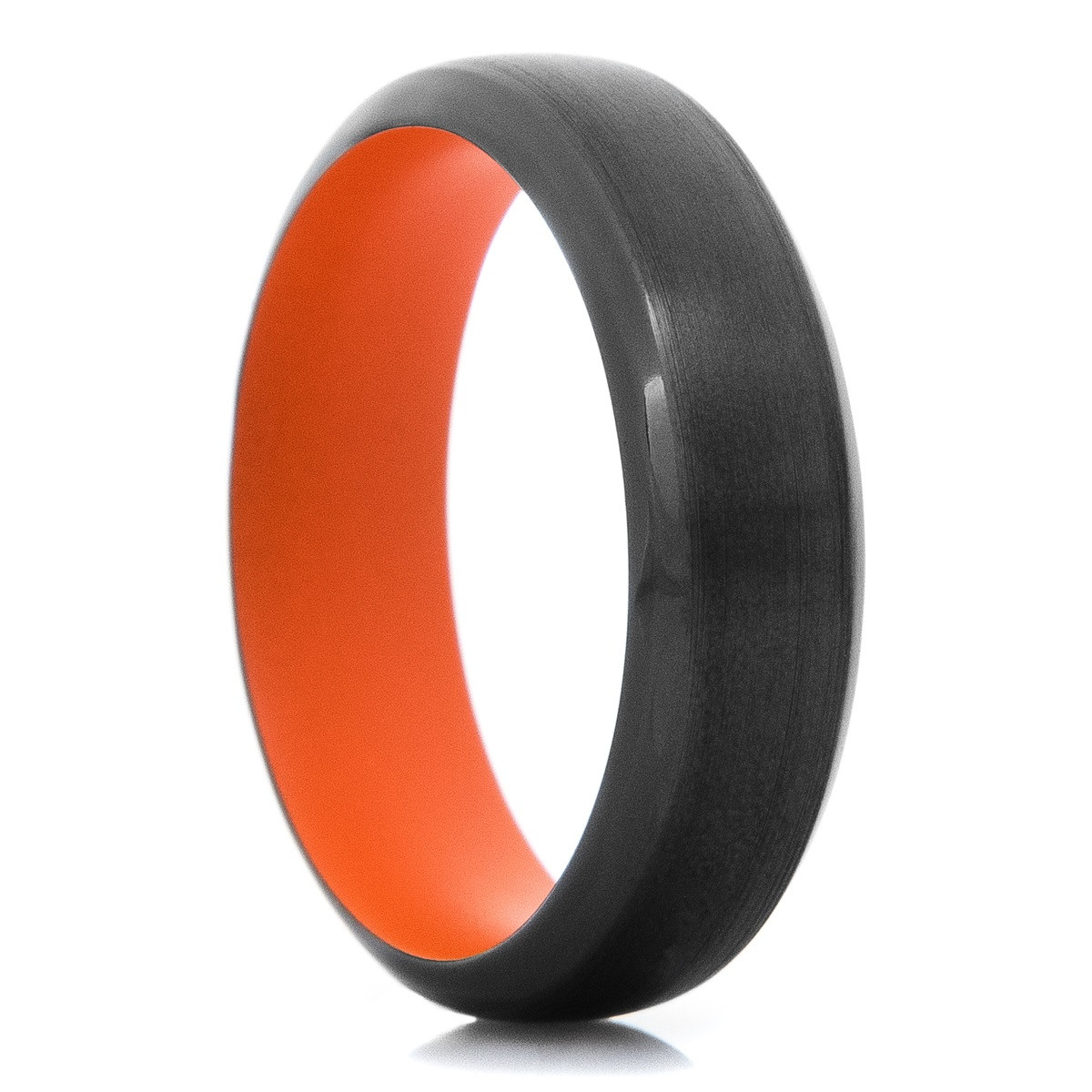 Men's Black Zirconium Ring with Hunter Orange Sleeve