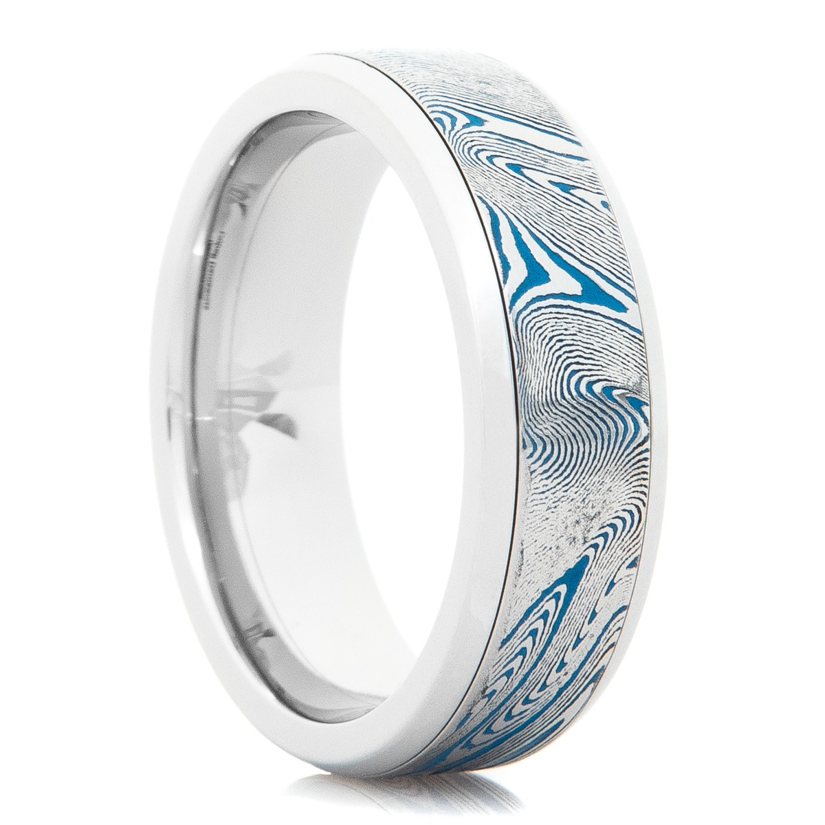 Polished Damascus Steel Ring with Blue Cerakote Accents