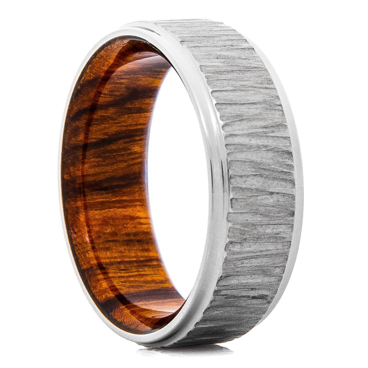 Men's Titanium Treebark Finish Ring with Desert Ironwood Sleeve