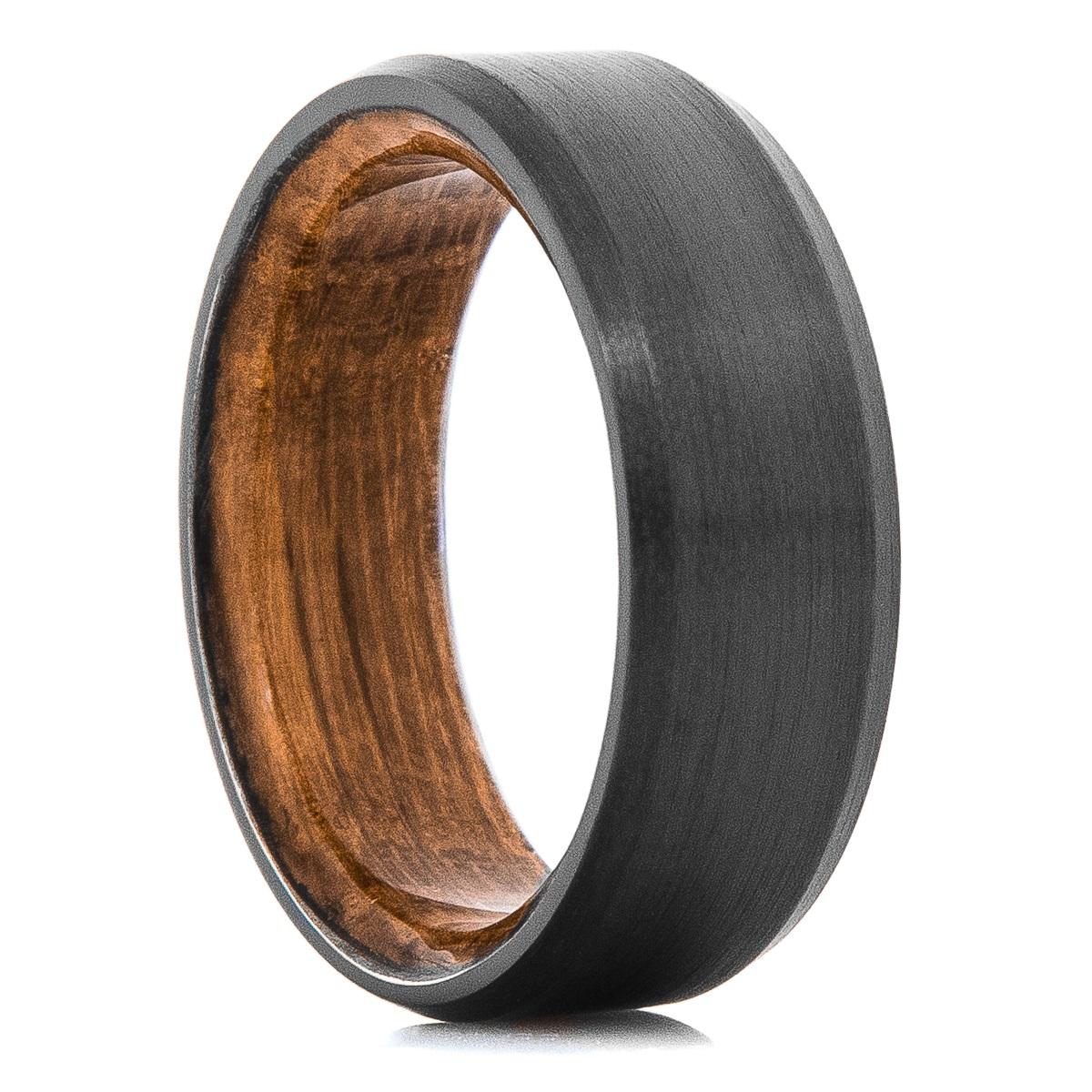 Men's Black Zirconium Ring with Whiskey Barrel Sleeve