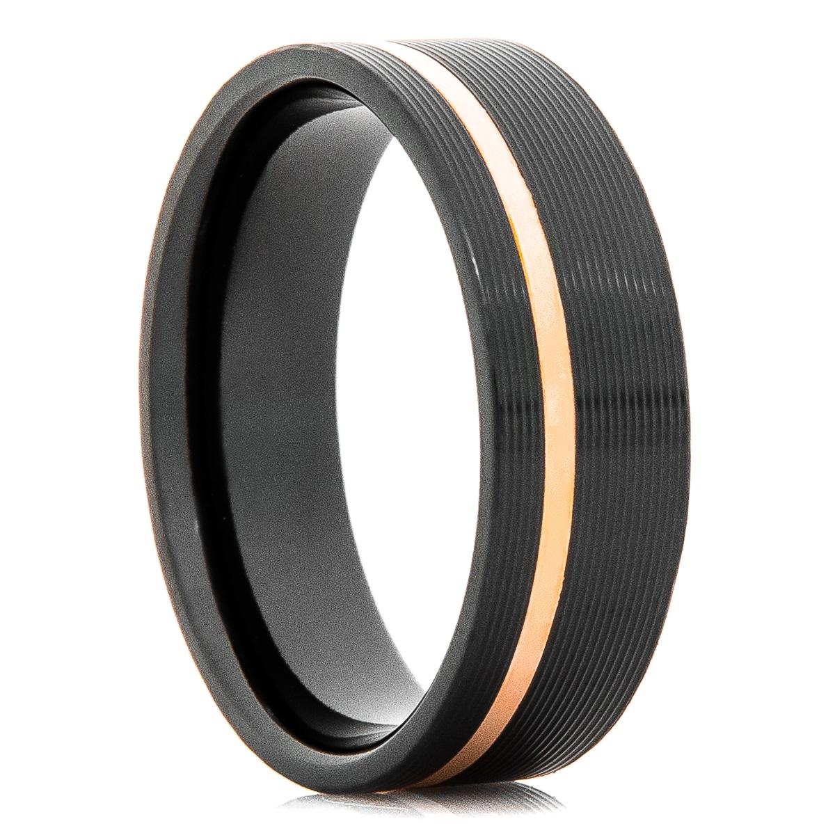 Men's Black Zirconium Ring with Offset Rose Gold Inlay