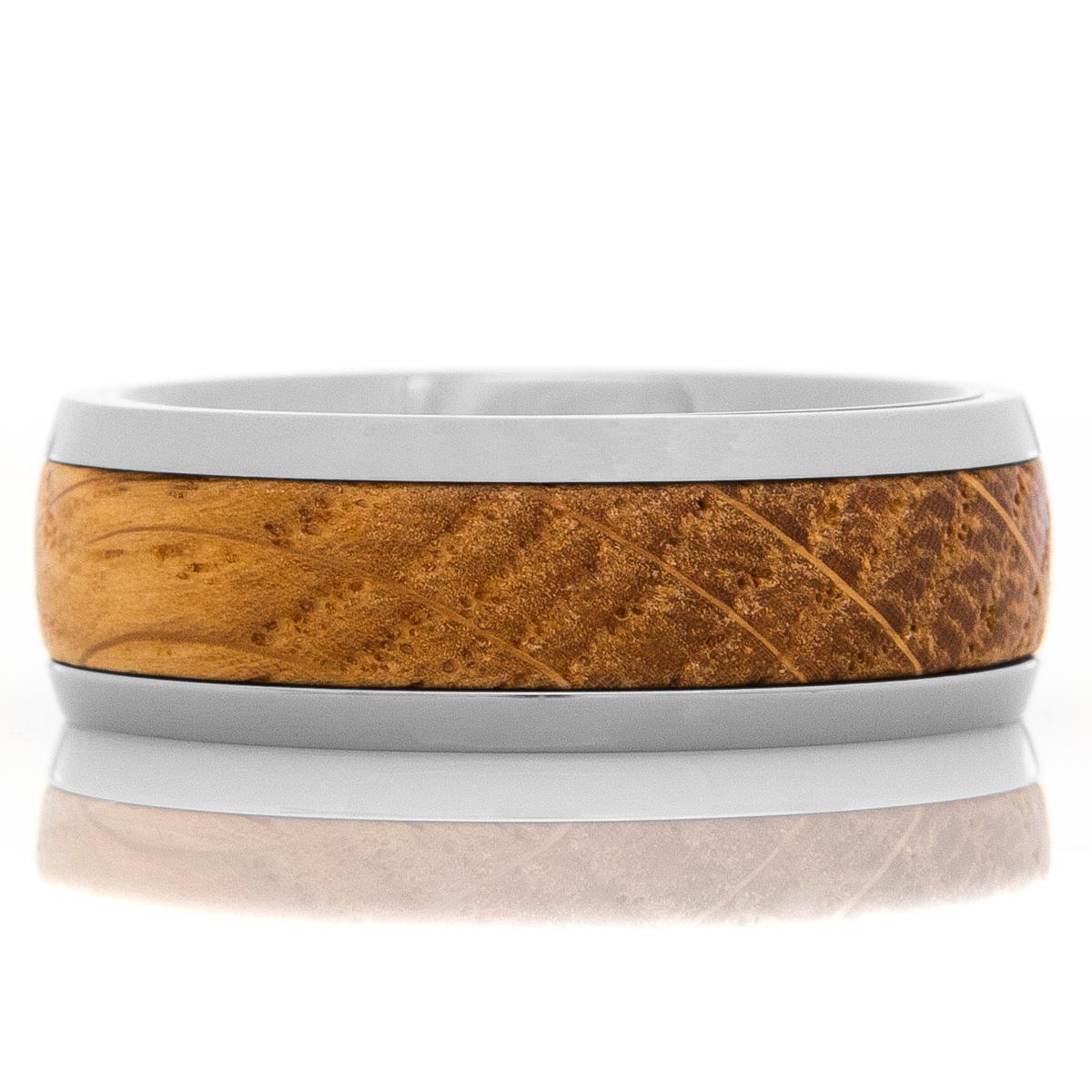 Men's Titanium & Whiskey Barrel Inlaid Ring
