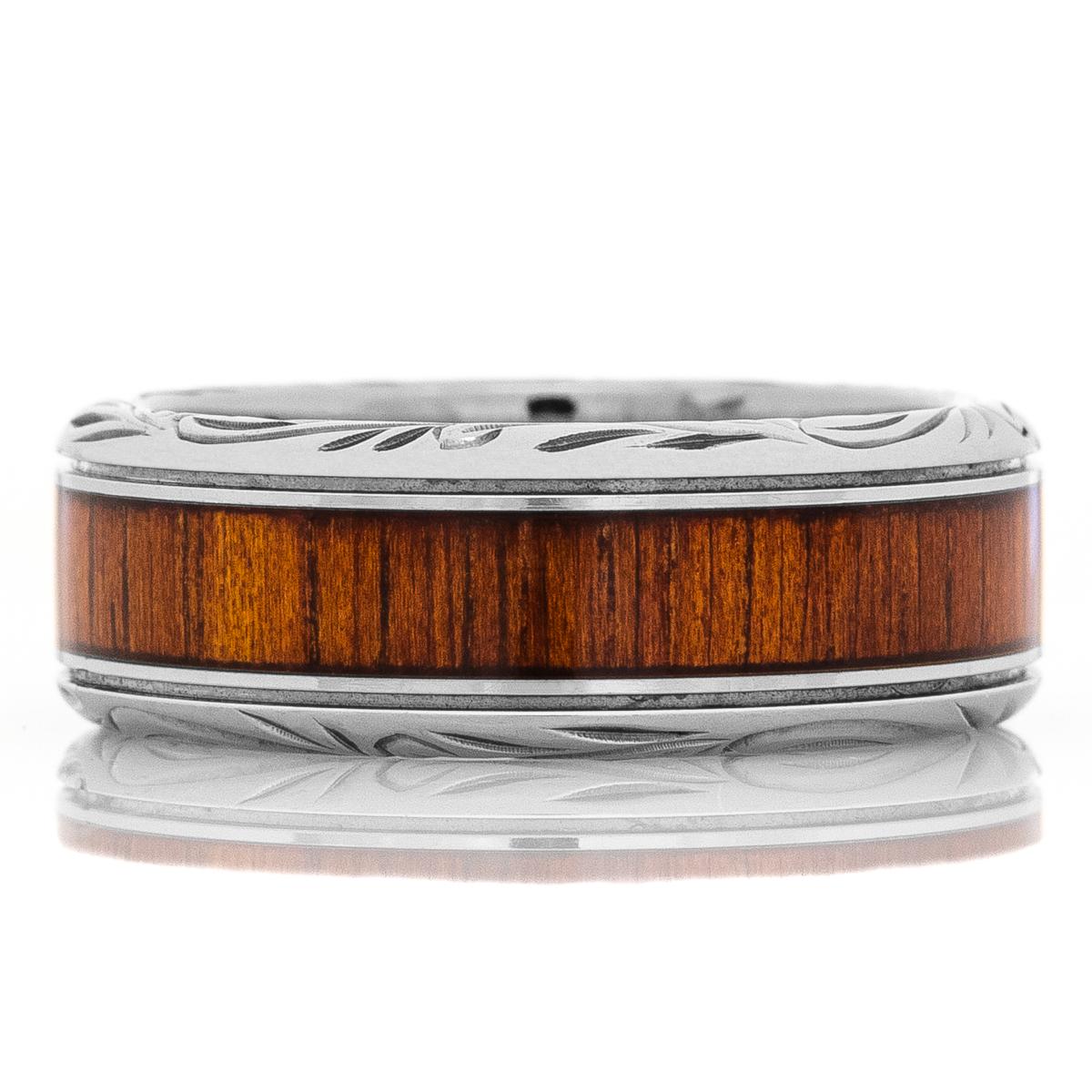 Men's Titanium & Koa Wood Inlaid Ring