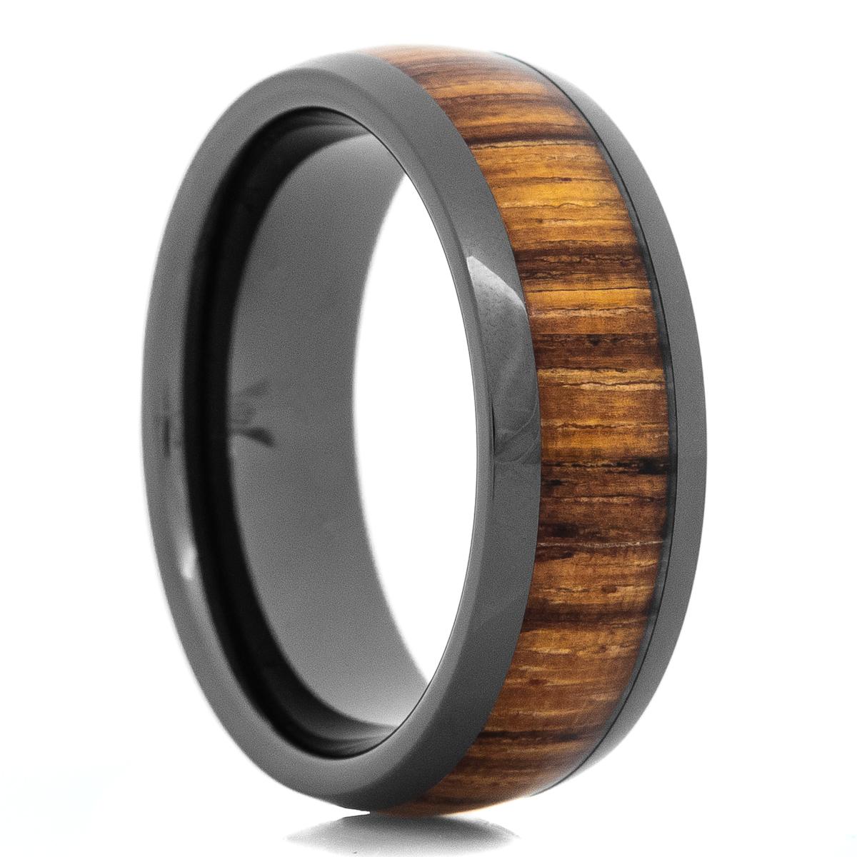 Men's Black Ceramic Zebra Wood Inlay Ring