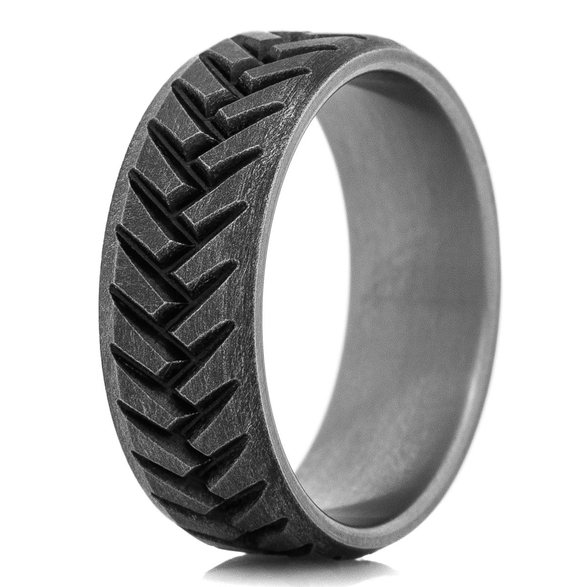 Men's Titanium Battle Worn Laser Carved Tread Ring