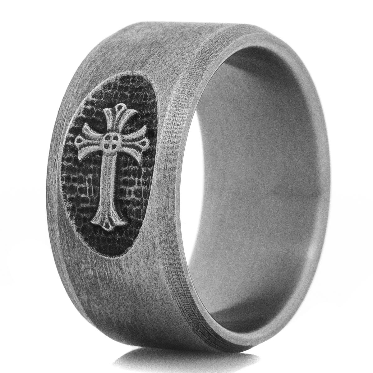 Men's Titanium Battle Worn Cross Ring