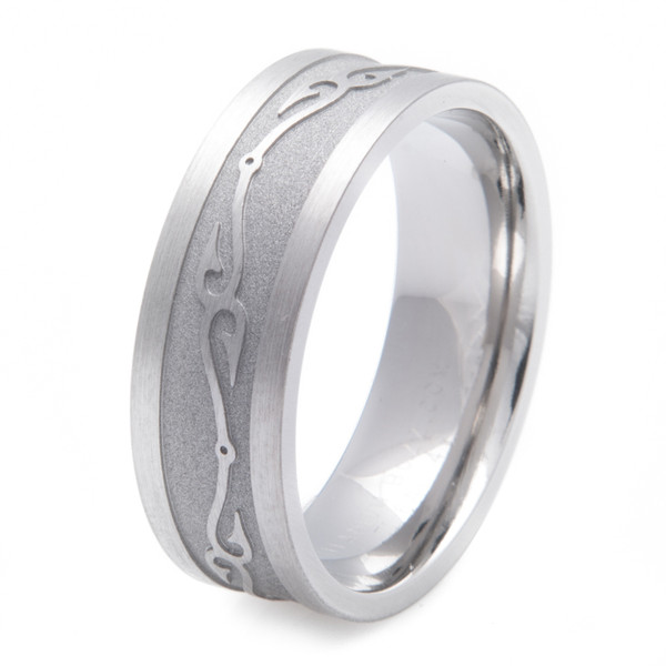 Titanium Connected Fish Hooks Wedding Ring