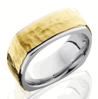7b4828f12ac1b Men's Square Hammered Gold Ring