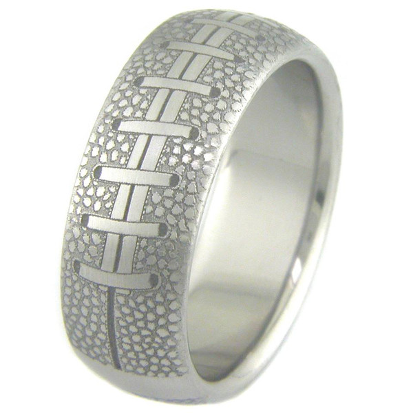 Wedding Rings For Men.Men S Laser Engraved Titanium College Football Wedding Ring