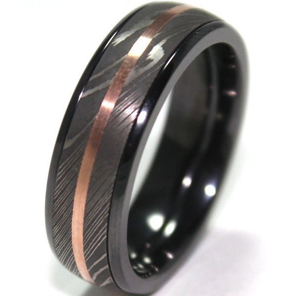 Wood Mens Wedding Bands Canada: Men's Black Zirconium Ring With Damascus Steel And 14K