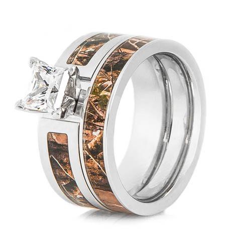 Cobalt Realtree Camo Wedding Ring Set Titanium Buzz
