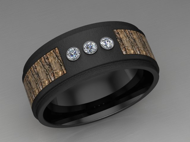 custom camo diamond ring