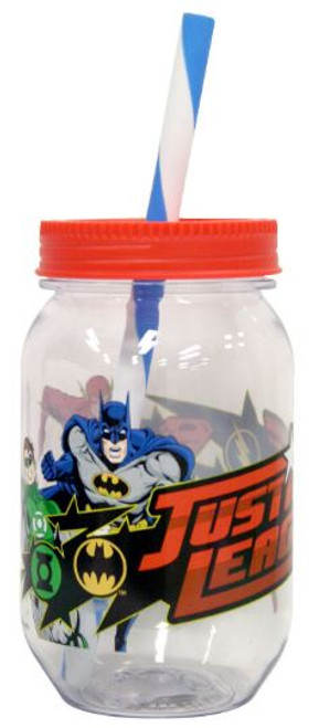 Justice League Mason Jar with Straw